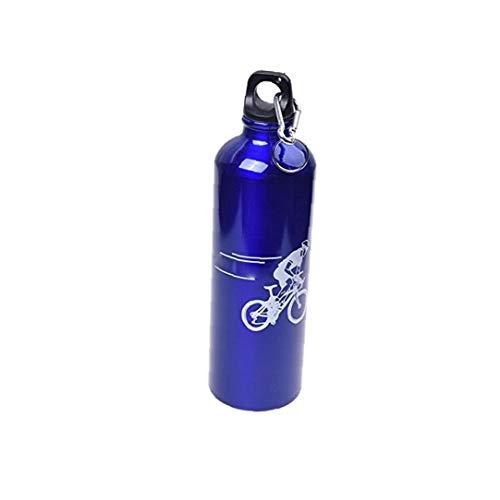 Botella de agua de bicicletas de montaña ciclismo bicicleta botella de agua de caldera de la botella de aluminio de aleación de deportes acuáticos de montar a caballo de la caldera con mosquetón azul