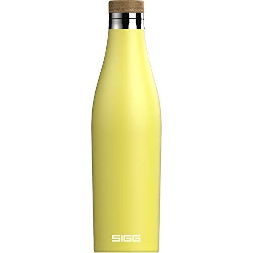 SIGG Meridian Ultra Lemon Gourde isotherme (0,5 L), gourde acier inoxydable étanche et sans substances nocives, bouteille d'eau pour boissons chaudes & froides