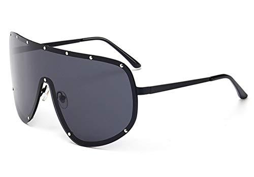 ZJMIYJ zonnebril, gepolariseerde bril zonnebril mannen vrouwen oversized mode tinten Uv400 een stuk lens vintage bril zwart fotolijst