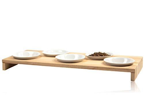 FINDAL - Katzennapf 5er Set aus Holz Buche mit 5 weißen Keramik Schüsseln, Futternapf für Katze & Hund groß, Fressnapf Futterbar XXL spülmaschinenfest & modern für Trockenfutter, Nassfutter & Wasser