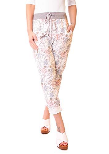 Easy Young Fashion Damen Hose Jogginghose Boyfriend Sweatpants Sweat Jogger Sporthose All-Over Print Geblümt Creme-Rosa