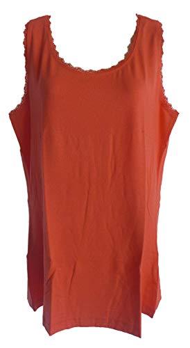 Sheego Damen Spitzen Top ärmellos blau, Creme, Koralle (Koralle, 46)