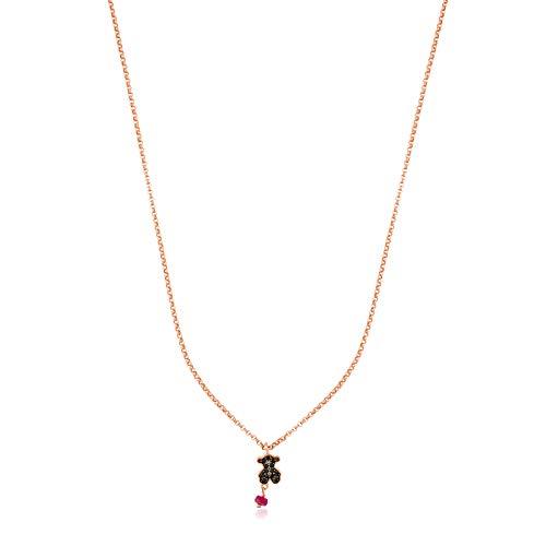 Tous Collar Motif de Plata Vermeil Rosa, espinela y rubí. Largo 45 cm, Colgante 0,9 cm
