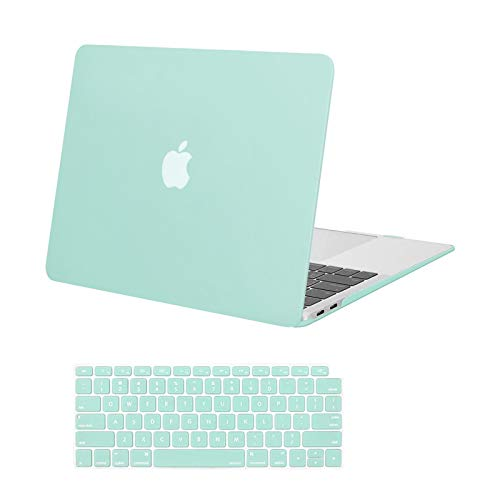 MOSISO Compatible with MacBook Air 13 inch Case 2020 2019 2018 Release A2337 M1 A2179 A1932 Retina Display with Touch ID, Protective Plastic Hard Shell Case & Keyboard Cover Skin, Mint Green