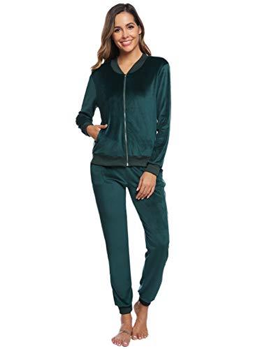 Abollria Damen Velours Trainingsanzug 2 Teiler Nicky Hausanzug Kuschlig Jogginganzug Sportliche Zip Jacke mit Stehkragen+Hose mit Kordelzug und Taschen,Grün,XL