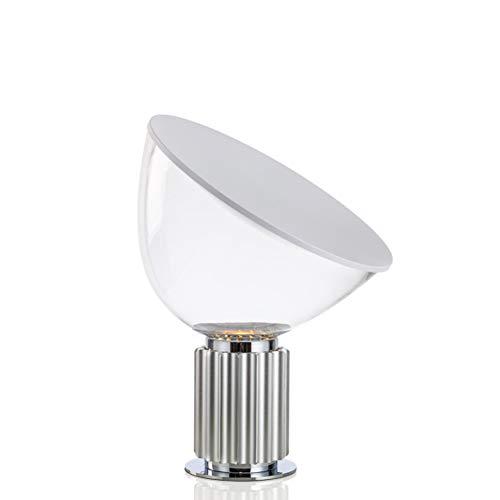 MXGP Lámpara de Escritorio de Radar Creativa Lámpara de Mesa de Cristal Simple con diseño de Personalidad Moderna Pantalla Transparente E27 Hotel Dormitorio Luz de Mesa de decoración,Plata