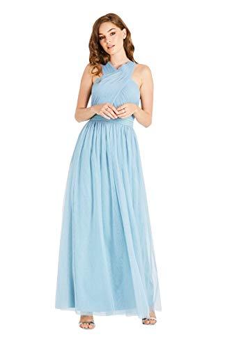 Little Mistress Damen Lais Maxi Dress with Tie Back Kleid, Blau (Blue Haze 001), 38 (Herstellergröße: 12)