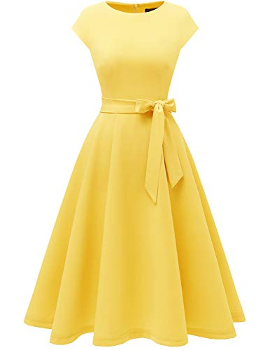 Women Casual Tea Dress Aline Swing Vintage Cocktail Dresses, Juniors' Wear to Work Dresses, Modest Church Formal Dress, Flared Bridesmaid Dress for Homecoming Yellow L