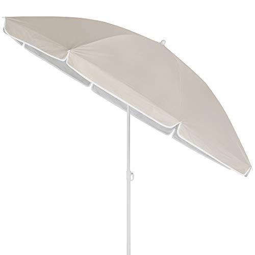 Kingsleeve Sombrilla Parasol Crema 180 cm con Altura Ajustable y función de inclinación quitasol para la Playa Picnic