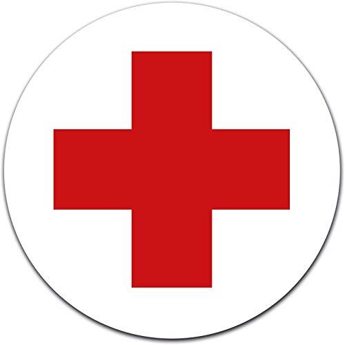 Aufkleber DRK Rotes Kreuz Ø 12 cm für Verbandskasten oder Medizinschrank, Erste Hilfe mit UV-Schutzlaminat (8cm)