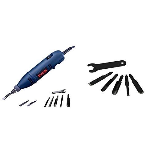 リョービ(RYOBI) 電動彫刻刀 DC-501F 替刃5本セット 4989692 & 替刃セット 電動彫刻刀用 5本入 丸刃・平刃 (4mm 9mm)・角刃・平丸刃 6674661【セット買い】