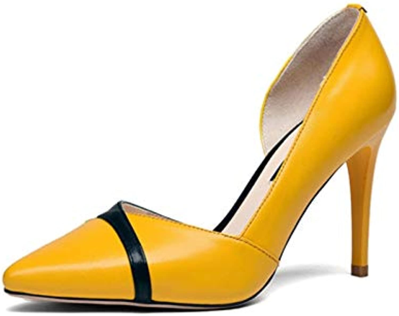 HOESCZS Neue Frauen aus echtem Leder dünne dünne dünne high Heels Spitze Flache Schuhe Frau Casual frühling pumpen größe 34-39,  edb202