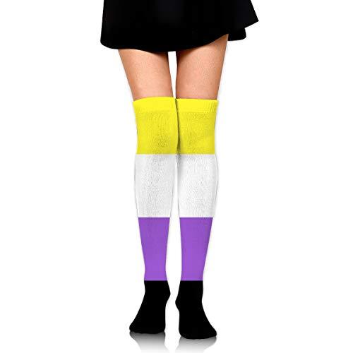 Non-Binary Flag Women Thigh High Socks Over Knee High Stockings Long Boot Socks