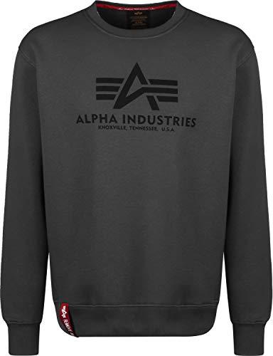 Alpha Industries Pullover Basic rot Olive schwarz weiß grau blau gelb (L, GreyBlack/Black)