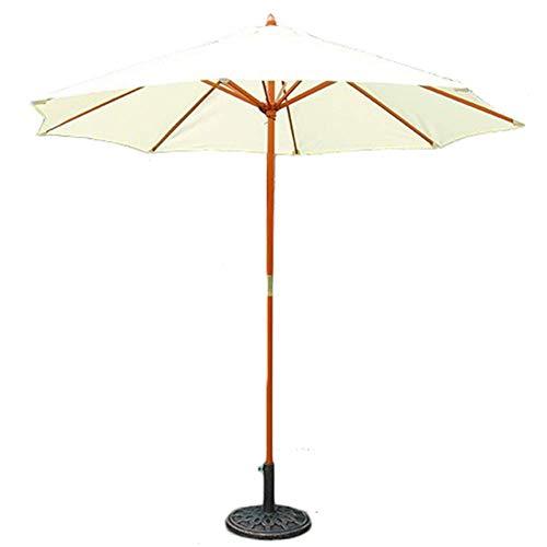 Sombrilla de Mesa de Patio al Aire Libre de 9 pies con Poste de Madera, para Market Garden Yard Beach Deck Junto a la Piscina Cafe Decor Sombrilla (Color: Blanco Roto)