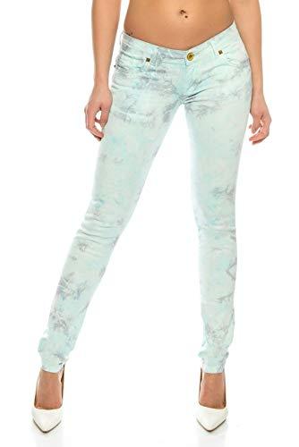 Crazy Age Batikhosen Frauen farbige Jeans Bunte Farben Hochwertige Modische Hose (Mint (Batik), L)