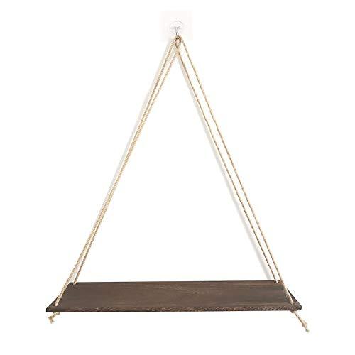 Rustieke set van 2 houten touw hangende zwevende planken met touwtje - boerderij hangende planken voor woonkamer muur - kleine keukenplanken met touw