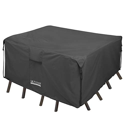 ULTCOVER 600D Tough Canvas Durable Square Patio Table and Chair Cover - Waterproof Outdoor General Purpose Furniture Covers 74 inch, Black