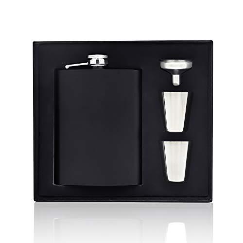 Fiaschetta Acciaio, 8 oz Nero Portatile Fiaschetta in Acciaio Inox Fiaschetta per Whisky Bottiglia con a Imbuto e Due Tazze perfetta per regali da uomo, Escursione, Viaggio