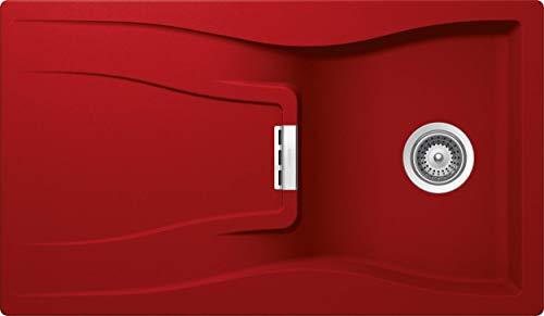 SCHOCK hochwertige Küchenspüle 86 x 50 cm Waterfall D-100 Rouge - CRISTADUR rote Spüle mit Abtropffläche ab 50 cm Unterschrank-Breite