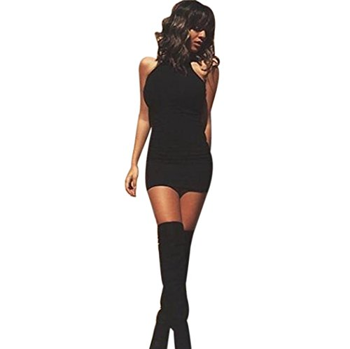 Elecenty Damen Schulterfrei Sommerkleid Knielang Kleider Solide Bandage Bodycon Maxikleid Kleid Cocktailkleider Rock Mädchen Frauen Ärmellos A-Linie Kleidung Partykleid (S, Schwarz)