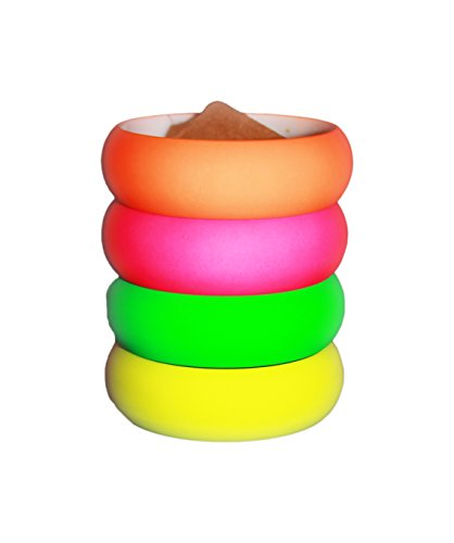 4 Pack 1980s Style Smooth Touch Round Bangles in 4 Colors
