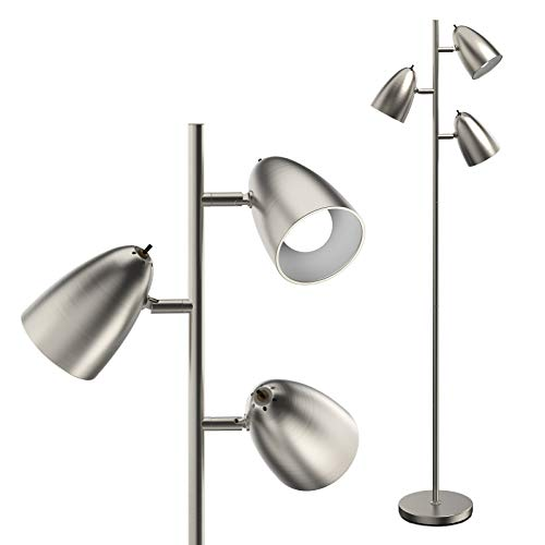 Addlon Tree Floor Lamp with 3 Adjustable Rotating Lights and Matching LED Bulbs, Standing Tall Pole Lamps for Living Room, Bedroom, Home, Office - UL Listed, Satin Nickel