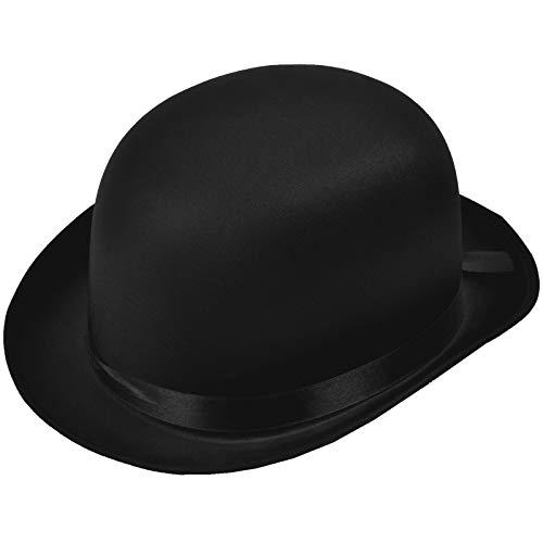 Satin Bowlerhut Größe 58 Melone Edler Bowler Hut Kopfbedeckung