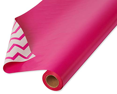American Greetings Reversible Wrapping Paper, Pink and Chevron (1 Jumbo Roll, 175 sq. ft.), 6592258, Pink & Chevron