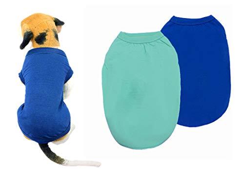 YAODHAOD Cotton Hundekleidung Einfarbige Hunde-T-Shirts Kleidung, Baumwollhemden Weich und atmungsaktiv für kleine extra kleine mittlere Hundekatze 2 Stück (L, Hellblau + Blau)