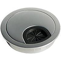 Emuca - Pasacables de mesa circular Ø60mm de zamac cromado mate, tapa pasacables encastrable en mesa de oficina/escritorio