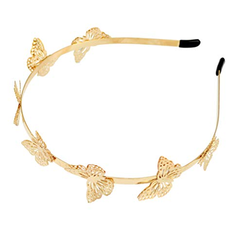 Lurrose Haarband Schmetterling Haarreifen Haarschmuck für Kinder Mädchen (Golden)