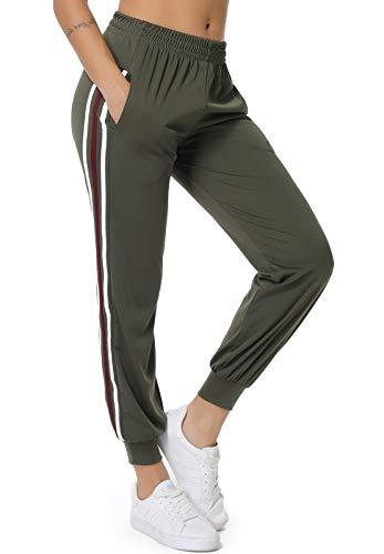 SEASUM Pantaloni Sportivi da Donna Moda Lunghi Casual Jogger con Tasche e Coulisse Training Pants Jogging Fitness Allenamento, A-Verde Militare S