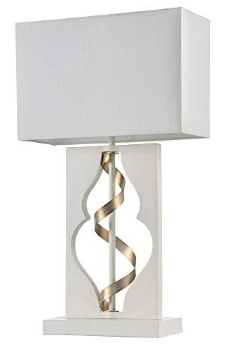 Lampe à poser, Lampe de table, Lampe de chevet, style moderne, Art deco, Armature en Métal couleur blanc et or, Abat-jour en tissu blanc, ampoule non incluse, 40 W E14 220-240V