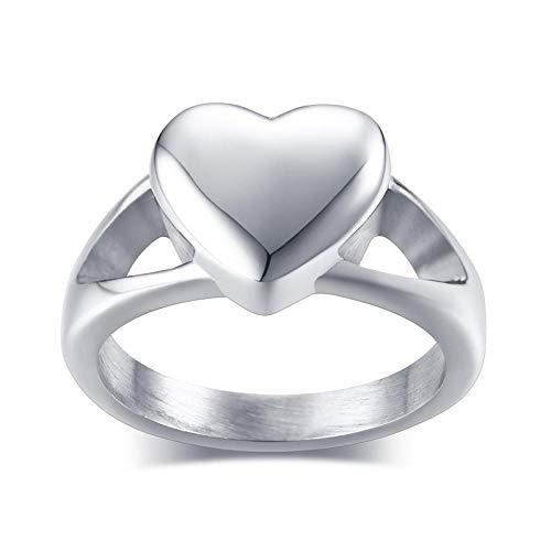 YNCHERISH Anillos de Plata para Mujer Cenizas para Mascotas Urna en Forma de corazón Regalos de Acero Inoxidable