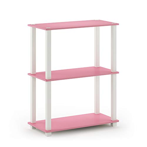 Furinno Turn-S-Tube 3-Tier Compact Multipurpose Shelf Display Rack, Square, Pink/White