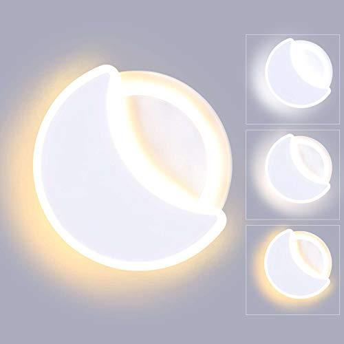 Lightess Lampada da Parete Dimmerabile 3 Temperature di Colore 18W Moderno Applique da Interno LED Forma Rotonda e Luna Creatività Luce Acrilico per Camera dei Bambini, Camera da Letto, Bianco