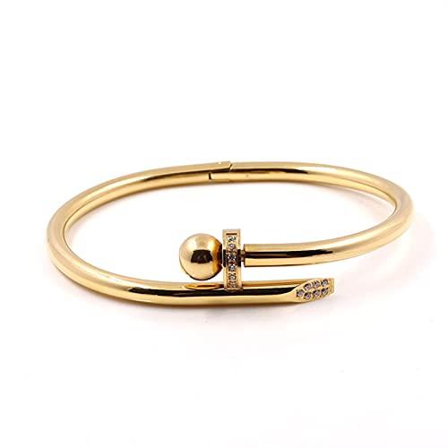 Armband Damen Edelstahl Gold Farbe Kristall Stilvolle Schrauben Armreif Für Frauen Mädchen Dekoration Schmuck Zubehör Geschenk (Color : Gold Bangle)