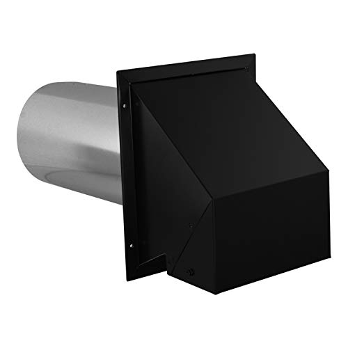 Imperial VT0730 6-Inch Heavy-Duty Outdoor Exhaust Vent, with Intake Hood Conversion, 1-Pack, Black