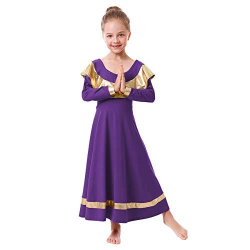 IBAKOM Girl Adult Prom Ballroom Dance Dresses Modern Smooth Waltz Tango Latin Competition Swing Skirt Lady Big Girl Christian Festivals Salsa Dancing Costumes Purple+Gold 7-8 Years