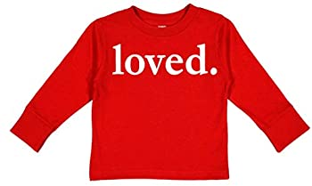 Custom Kingdom Boys and Girls Loved Valentines Day Long Sleeve T-Shirt  Red 2T