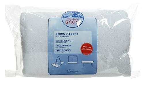 Kaemingk Schnee-Teppich, Polyester, glitzernd, ideal für den Innenbereich, 250 x 100 cm, Weiß