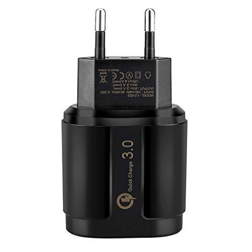 Adattatore da viaggio per spina di ricarica TwoCC Adattatore da viaggio con spina di ricarica rapida USB 3.0 universale europea (nero)