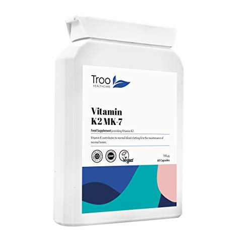 Vitamin K2 MK-7 100mcg - 60 Capsules - GMP Quality, UK Manufactured Bone Support Supplement