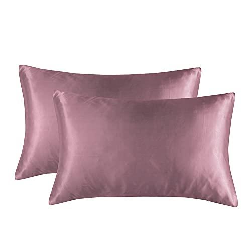 Funda de almohada de verano para decoración del hogar, 2 unidades, tamaño estándar, ultra suave, material sedoso, funda de almohada de color sólido (marrón cameo, 50,8 x 76,2 cm)