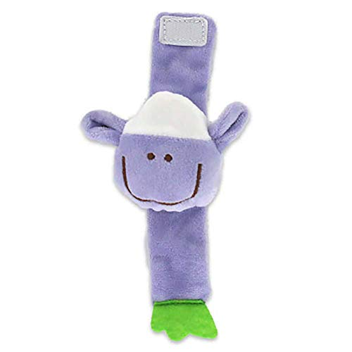 Da.Wa Infantil Piezas Animal del Bebé de la Muñeca de la Muñeca Traqueteos Correa de Muñeca Suave Juguete Educativo para Bebés (Cordero púrpura)