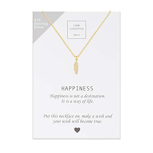 LUUK LIFESTYLE Collar de plata de ley 925 con colgante de pluma y cita Happiness, joya de mujer, tarjeta de regalo, amuleto, oro