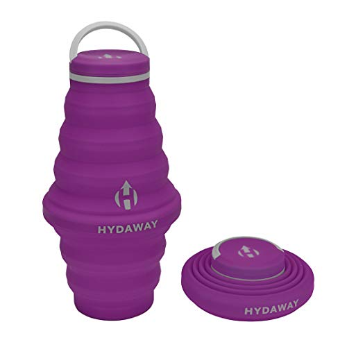 HYDAWAY Collapsible Water Bottle, 25oz Cap Lid | Ultra-Packable, Travel-Friendly, Food-Grade Silicone (Plum)