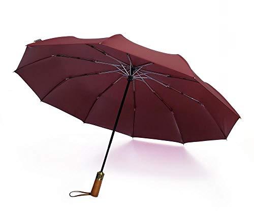 BLACK ELL Anti UV Plegable Paraguas,Viaje Impermeable Paraguas,Paraguas automático Grande, Paraguas Plegable con Mango de Madera Maciza-Rojo_10 acciones