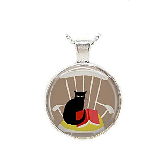 Halskette mit Lesekatze in Schaukelstuhl, schwarze Katze, Schmuck, Bibliothekarianer, ophiles Kunst-Anhänger